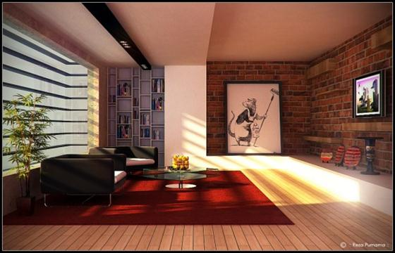 Artistic and Intellectual Living Rooms warm