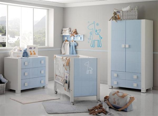 Attractive Babies Room Furniture Design with Lovely Giraffe Themes blue complete