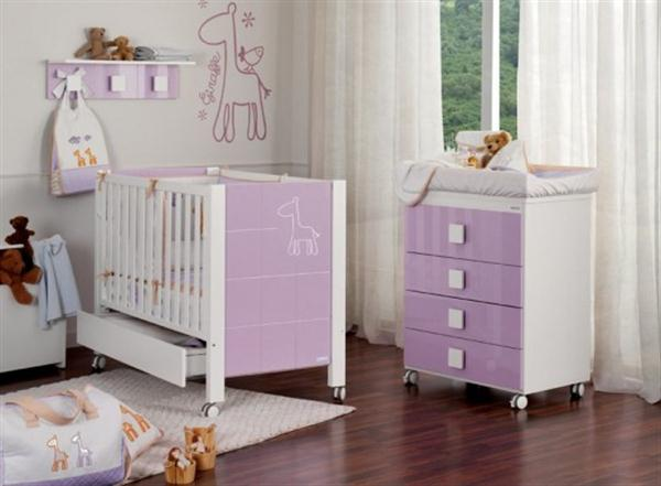 Attractive Babies Room Furniture Design with Lovely Giraffe Themes purple