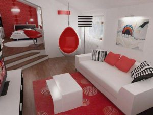 Attractive and Unique big Bedroom Design in Black Red and White