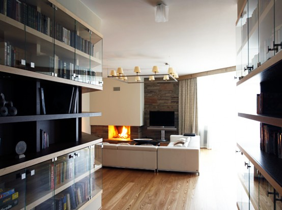 Awesome Fireplace at Contemporary Apartment with Two Level Interior Design