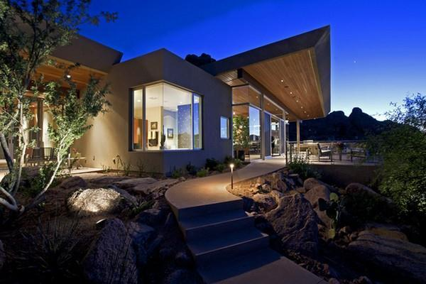 Awesome Modern Residence Design at night view
