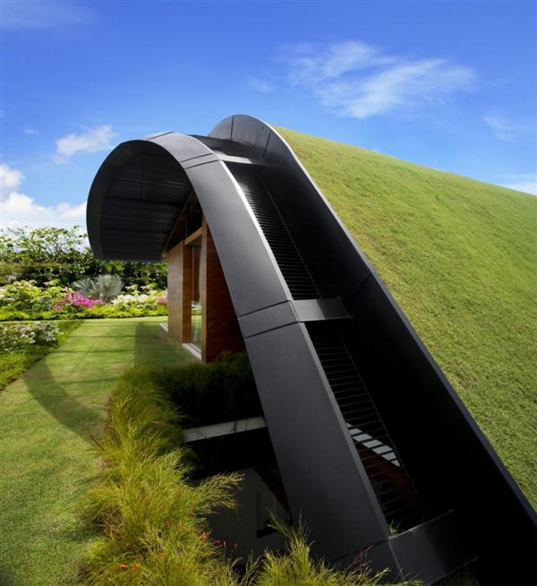 Awesome and Unusual Home Design with green roof