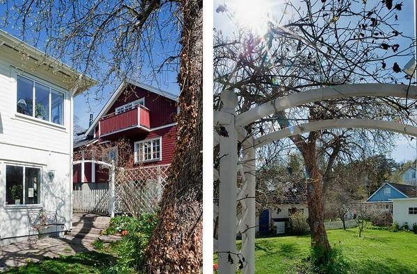 Awesome garden on cute White House Design in Sweden