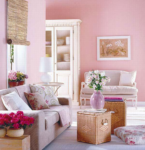 Beautiful and Bright Pink Living Room Design Ideas