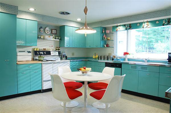 Beautiful kitchen Decoration Ideas with Red and Turquoise color