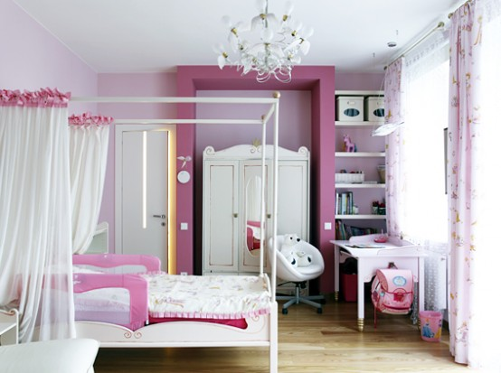 Bright color Kids Bedroom Contemporary Apartment with Two Level Interior Design