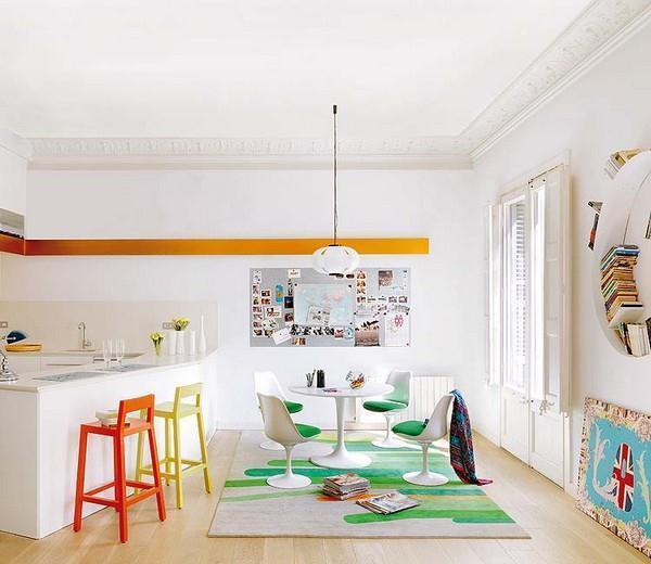 Cheerfulc and Artistic Square Meters Apartment Design Ideas