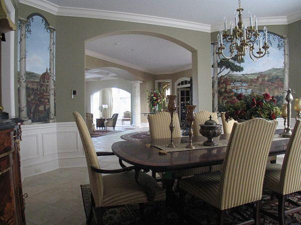 Colorful and Attractive Wall Mural Decorating Ideas at dinning room