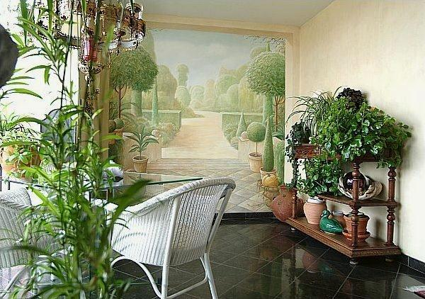 Colorful and Attractive Wall Mural Decorating Ideas at terrace