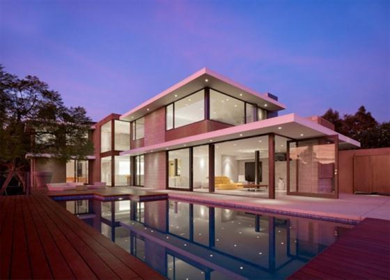 Contemporary California House Design Exterior at Night
