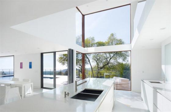 Contemporary California House Design White kitchen cabinets
