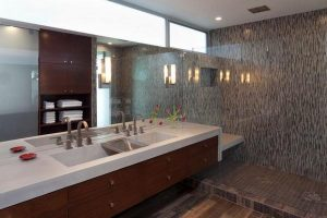 Contemporary and Elegant Lakeside Home Design by Dick Clark Architecture bathroom