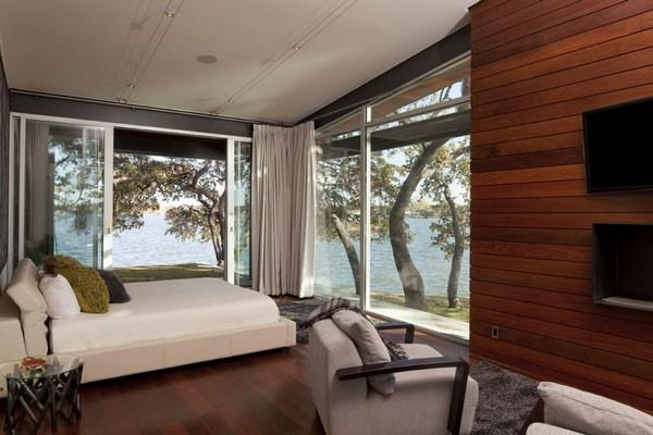 Contemporary and Elegant Lakeside Home Design by Dick Clark Architecture bedroom decor