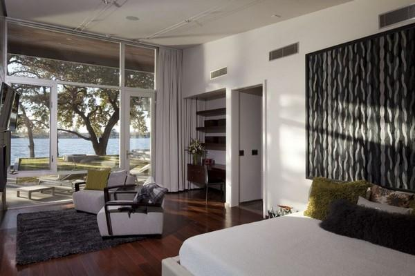 Contemporary and Elegant Lakeside Home Design by Dick Clark Architecture bedroom interior