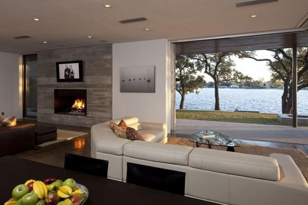 Contemporary and Elegant Lakeside Home Design by Dick Clark Architecture livingroom