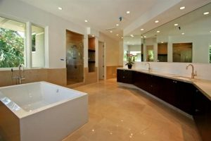 Contemporary and Luxury House Design in Miami Florida bathroom with square bathtubs