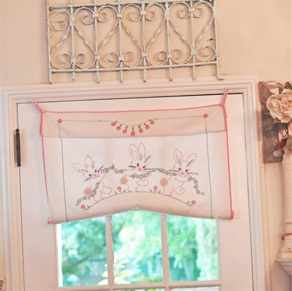 Cute and Sweet curatins on Vintage Kitchen Design by Jennifer Hayslip