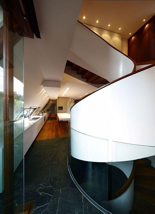 Cute spiral stairs on Home with Extraordinary design by Arkhefield