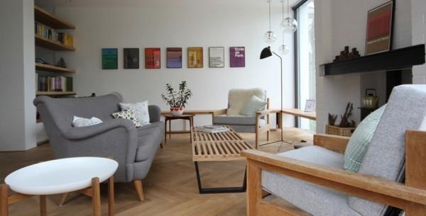 Delightful and warm Scandinavian living room Design by Linea Studio in England