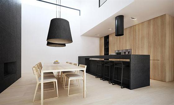 Dining area Black and White Interior Design
