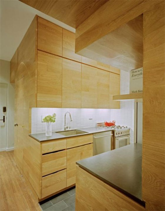 Kitchen design at Awesome Space Maximization square feet Small Studio Apartment x