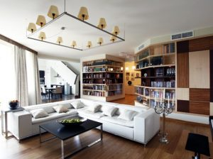 Living room Contemporary Apartment with Two Level Interior Design