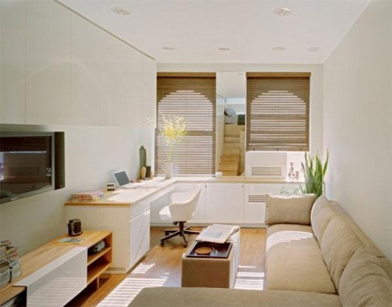 Lounge room at Awesome Space Maximization square feet Small Studio Apartment x