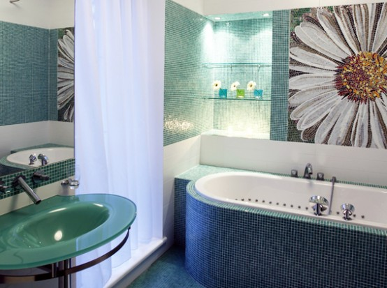 Modern bathroom Contemporary Apartment with Two Level Interior Design