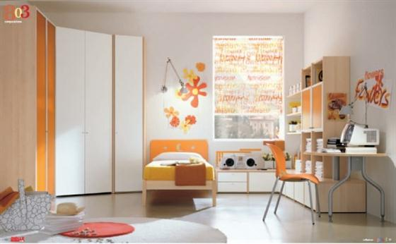 Orange and white Kids Bedroom Decorating Ideas