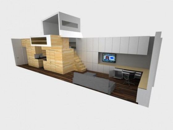 Side look design of Awesome Space Maximization square feet Small Studio Apartment x
