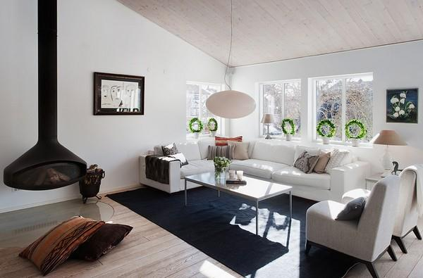Simply and cozy White living room Design in Sweden