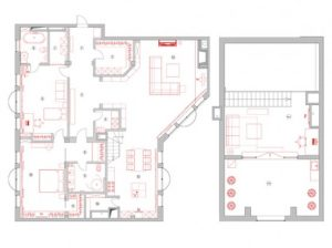 Sketch of Contemporary Apartment with Two Level Interior Design