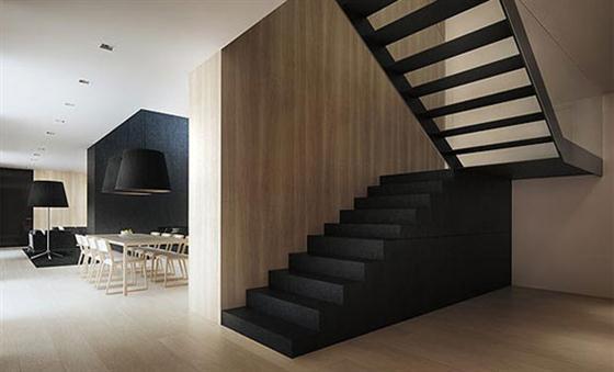 Staircase Black and White Interior Design