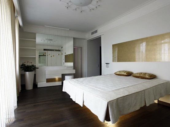 Stylish Master Bedroom of Contemporary Apartment with Two Level Interior Design