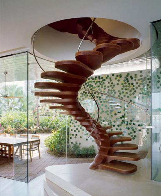 Unique wooden spiral staircase
