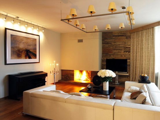 Warm Living Room Contemporary Apartment with Two Level Interior Design