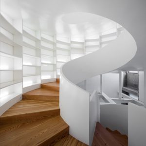 Wooden Spiral staircase with bookstore
