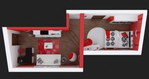 beautiful Bedroom Design in Black Red and White