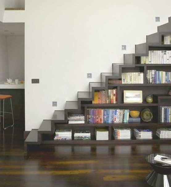 book store Awesome Cool Space Saving under Staircase Design