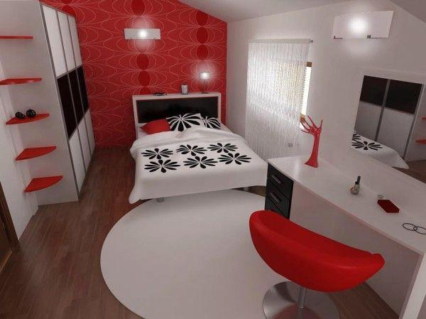 Attractive and Unique Bedroom Design in Black, Red, and White