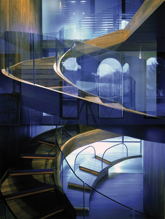 curved oversized staircase
