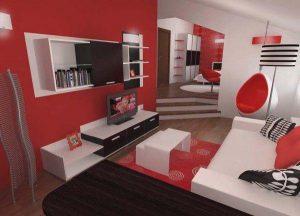 delightful Bedroom Design in Black Red and White