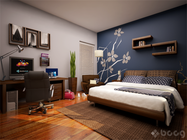 luxurious blue Bedroom Design Inspiration with cute wallpaper appliance