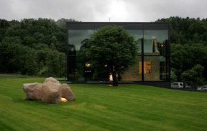 modern and unusual Home Design with the Surrounding Cute Grassland