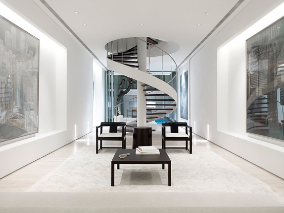 modern black and white and minimalist spiral staircase