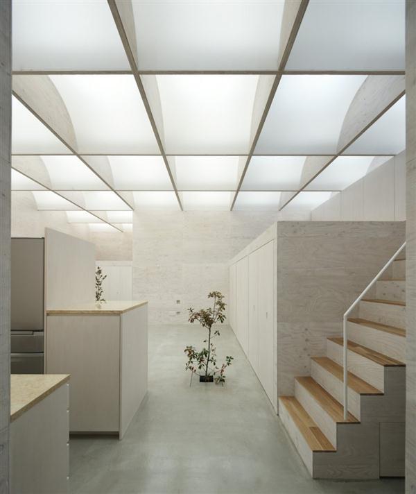 unusual Home Design with Natural Light Ceiling in Yokohama Japan