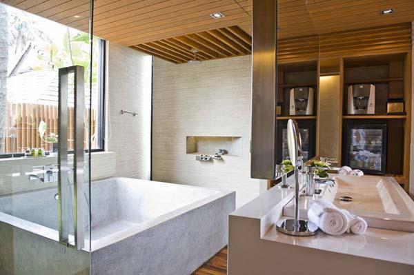 Beachfront Villa with cool and elegant bathroom design ideas