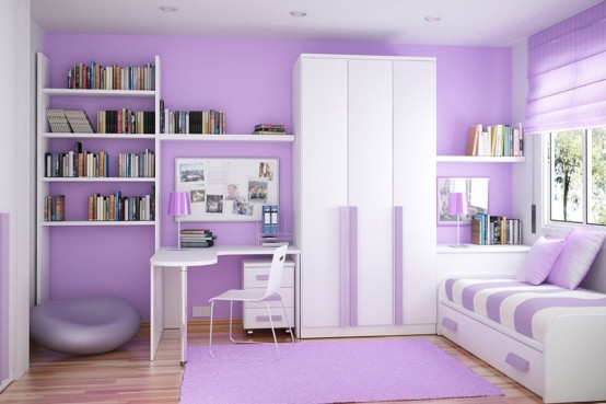 Comfortable kids bedroom with Contemporary Violet Interior Design Ideas inspirartion