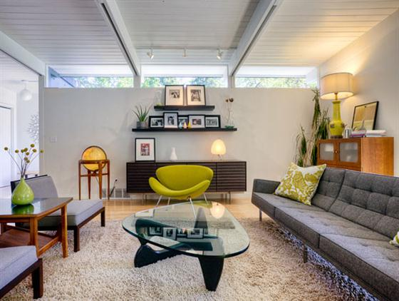 Contemporary Mid Century Home Design Living Room Ideas